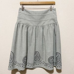 Etcetera Embroidered A-Line Gray Skirt Size 4